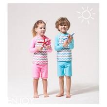 Funfeliz Children Swimwear Long Sleeve Swimsuit for Kids 4-14 Years Boys Two Pieces Swimming Suit Pink Girls Tankini
