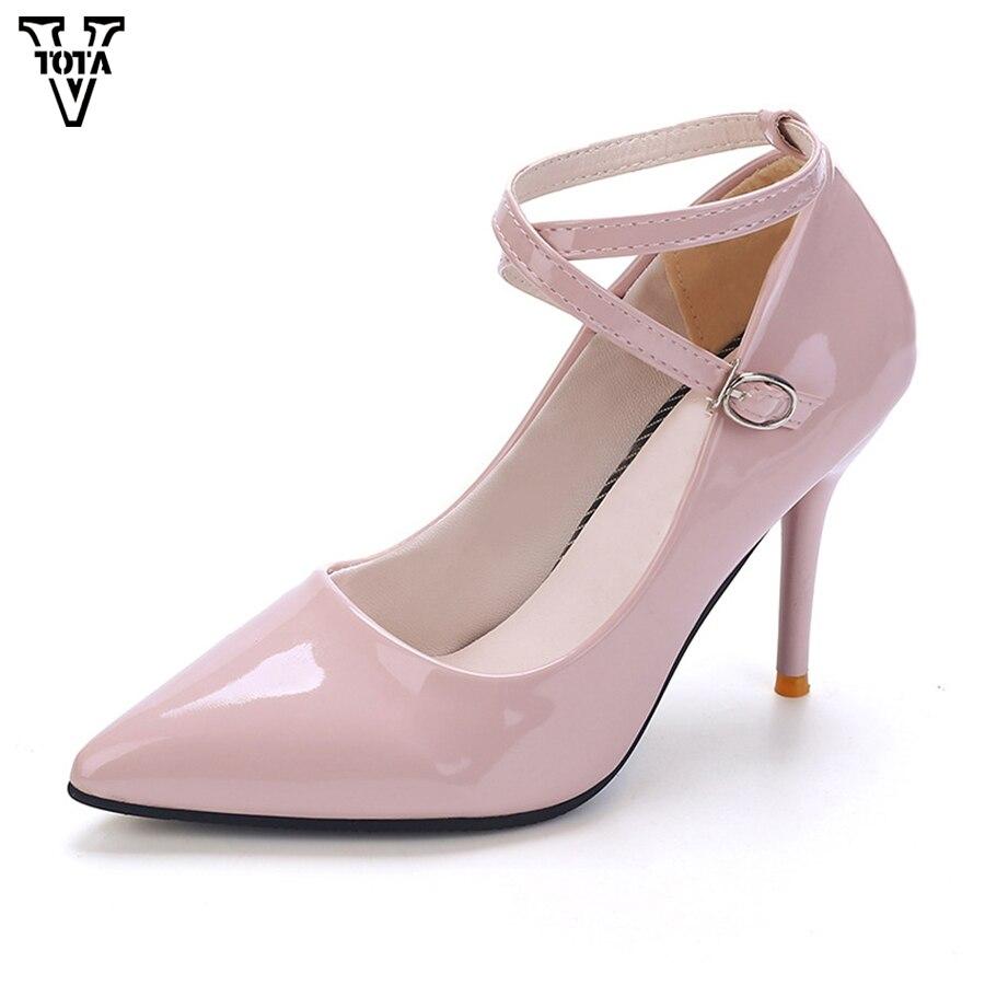 Vtota Новый Женская обувь туфли-лодочки с острым носком Для женщин женская пикантная обувь Шпильки Высокие каблуки 9.5 см Свадебная Дамская обу... ...