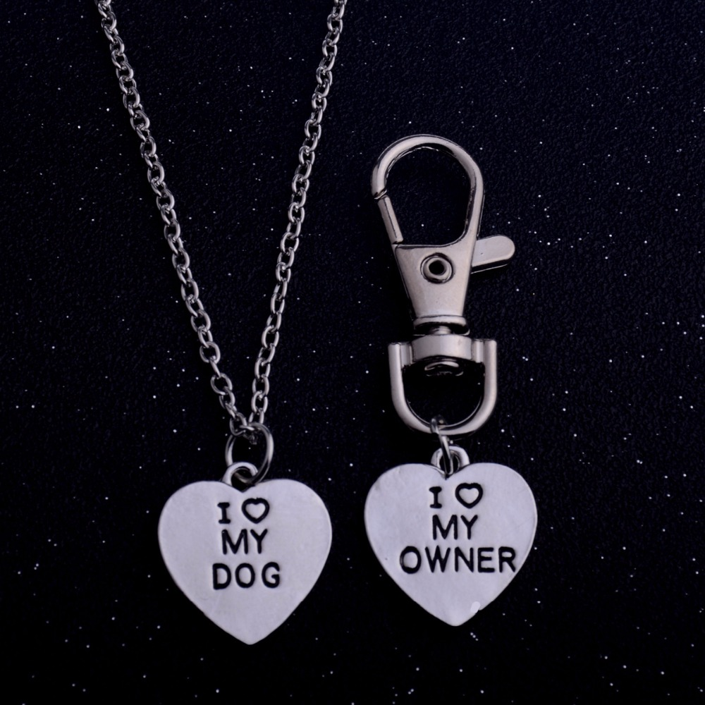 1Set Fashion Jewelry Heart Pendant I Love My Owner Dog Necklace Keychain Best Friends Pet Dog Lover Animals Memorial Necklaces image