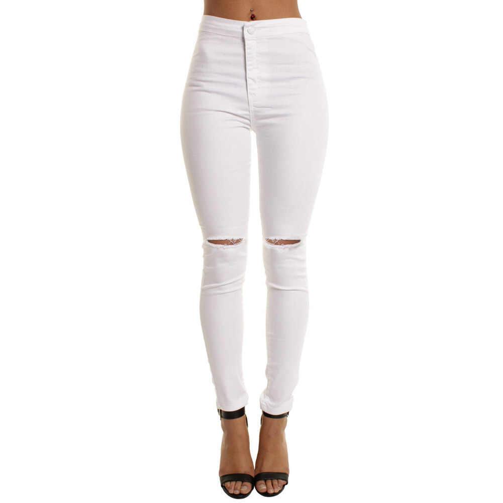 Модная женская зауженная, с высокой талией, джинсы, брюки, рваные, до колена, обтягивающие длинные джинсовые брюки NGD88