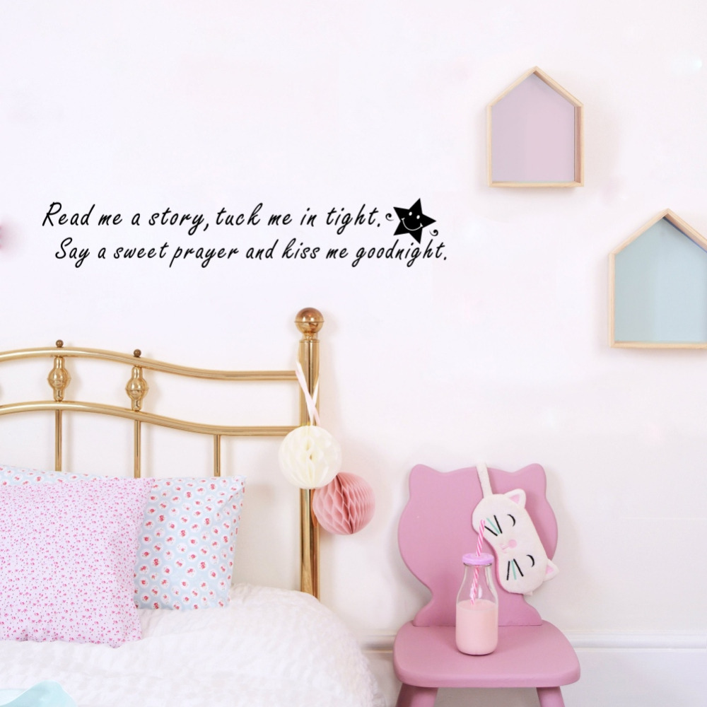 Read Me a Story Tuck Me in Tight Kids Room Decorative Vinyl Wall Decals Mural Stickers for Babys Room