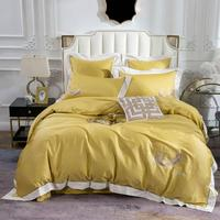 2019 Luxury Golden Yellow Brief Bedding Set Embroidery Egyptian Cotton Bedlinens Queen King Size Duvet Cover Set Cushion Covers