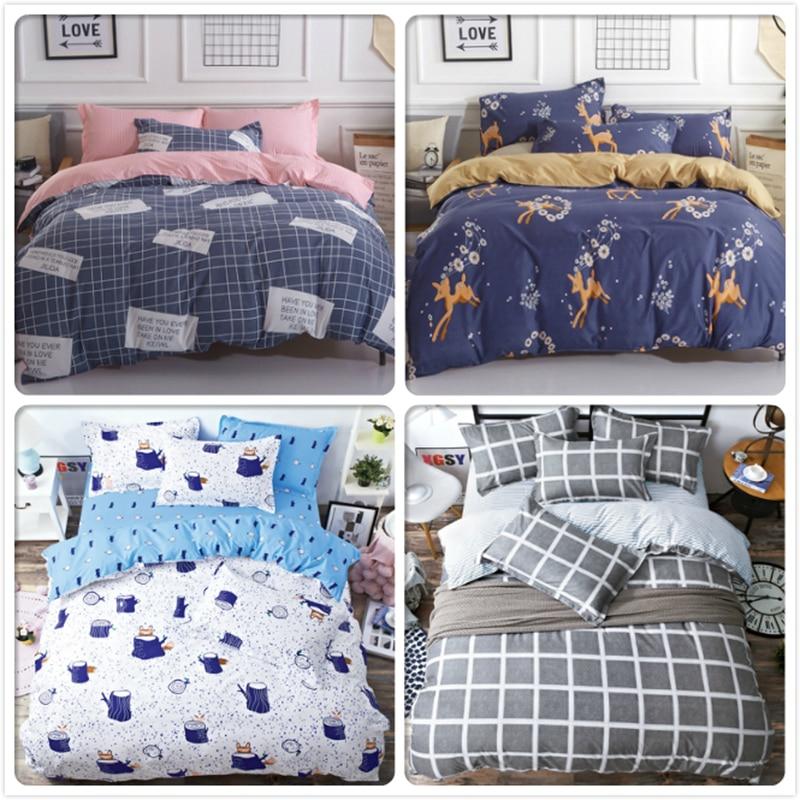Diligent Stripe Plaid Aole Cotton 3/4 Pcs Bedding Set 1.8m 2m 2.2m Bed Linens Flat Sheet Full King Queen Double Size Duvet Cover Bedlinen Power Source