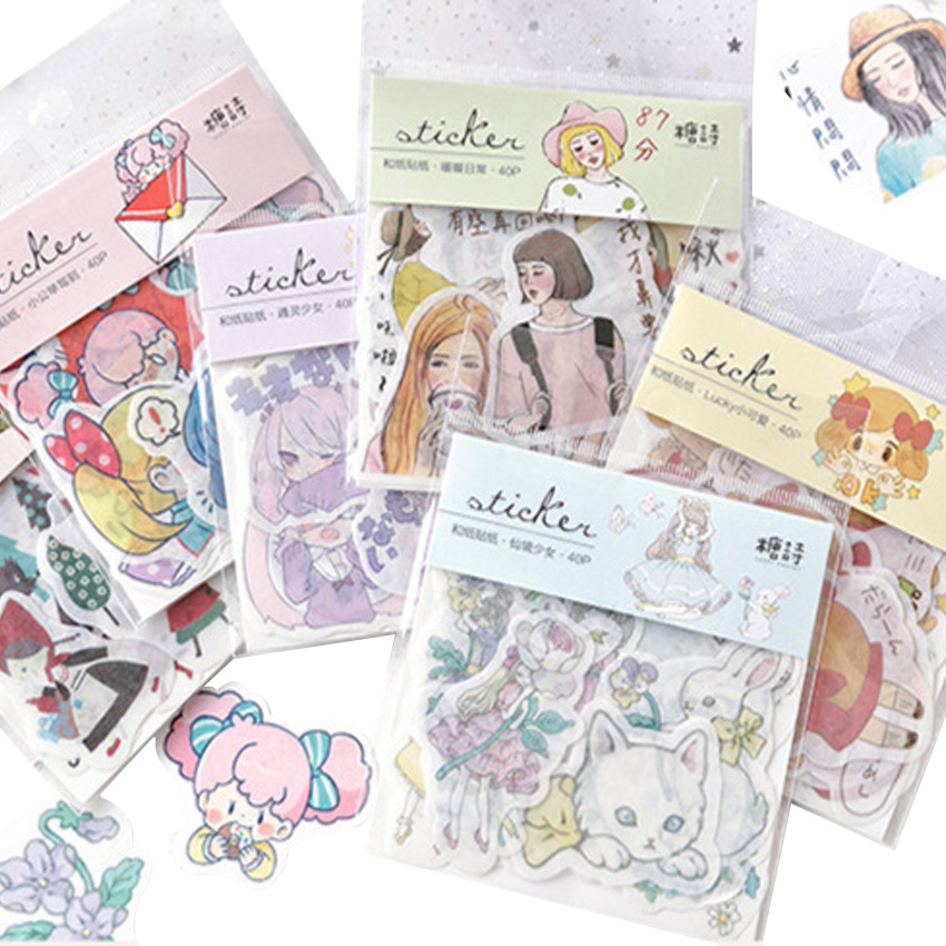 15 packs lot Kawaii Cute Children Diary Stickers Daily Life Scrapbook Paper Stationery Stickers School Office Supply in Stationery Stickers from Office School Supplies