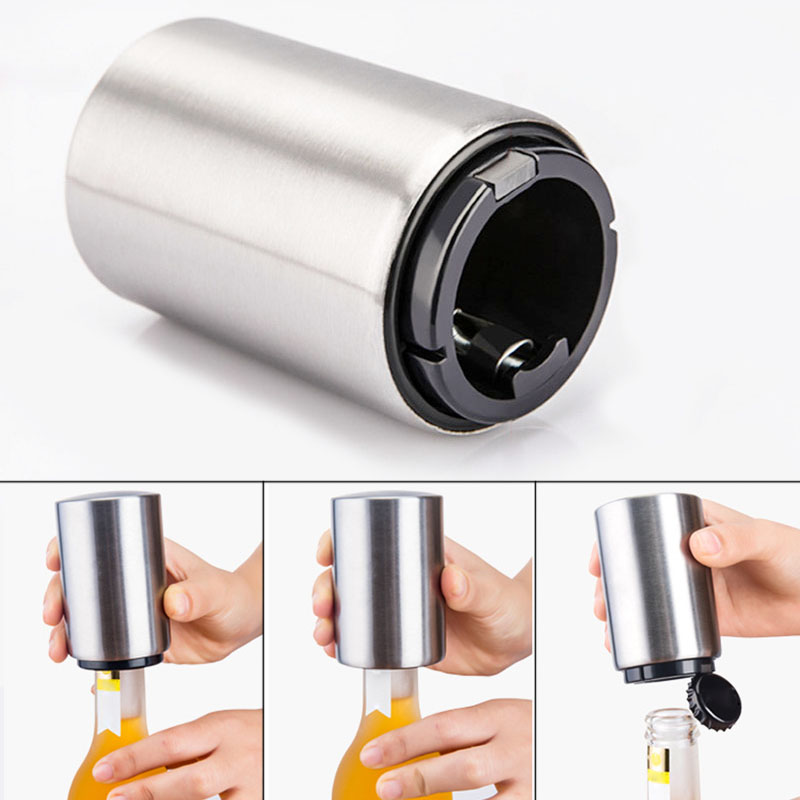 Newly Portable Magnetic Automatic Bottle Opener Stainless Steel Push Down Wine Beer Openers