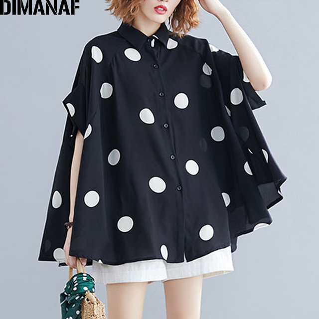 DIMANAF Plus Size Women Blouse Shirt Big Size Summer Casual Lady Tops Tunic Print Polka Dot Loose Female Clothes Batwing Sleeve