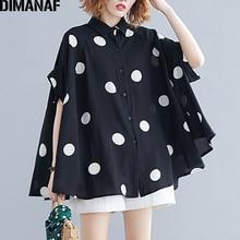 DIMANAF Blusa holgada informal de verano con manga de murciélago, camisa con estampado de lunares para mujer, talla grande