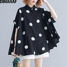 DIMANAF Plus rozmiar kobiety bluzka koszula duży rozmiar lato w stylu Casual, damska topy tunika drukuj Polka Dot luźne ubrania damskie rękaw w kształcie skrzydła nietoperza