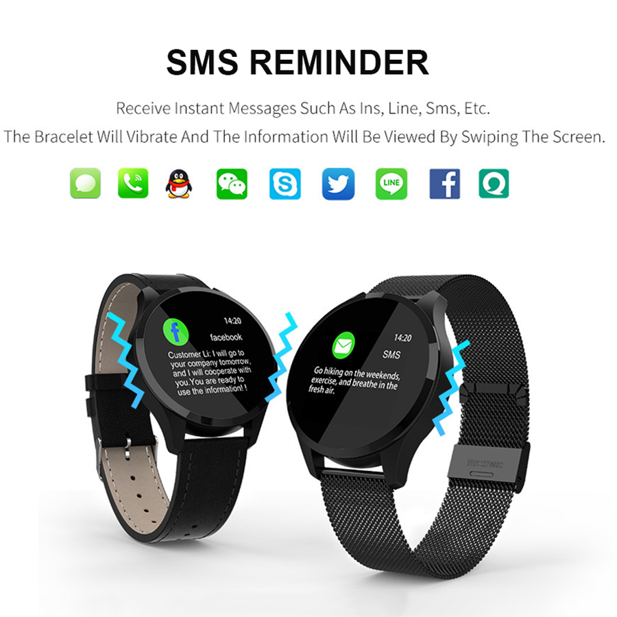 SCOMAS Updated Q9 Smart Watch 1 22 quot LCD SMS Call Reminder Heart Rete Blood Pressure Monitor Fitness Tracker Men Women Smartwatch in Smart Watches from Consumer Electronics