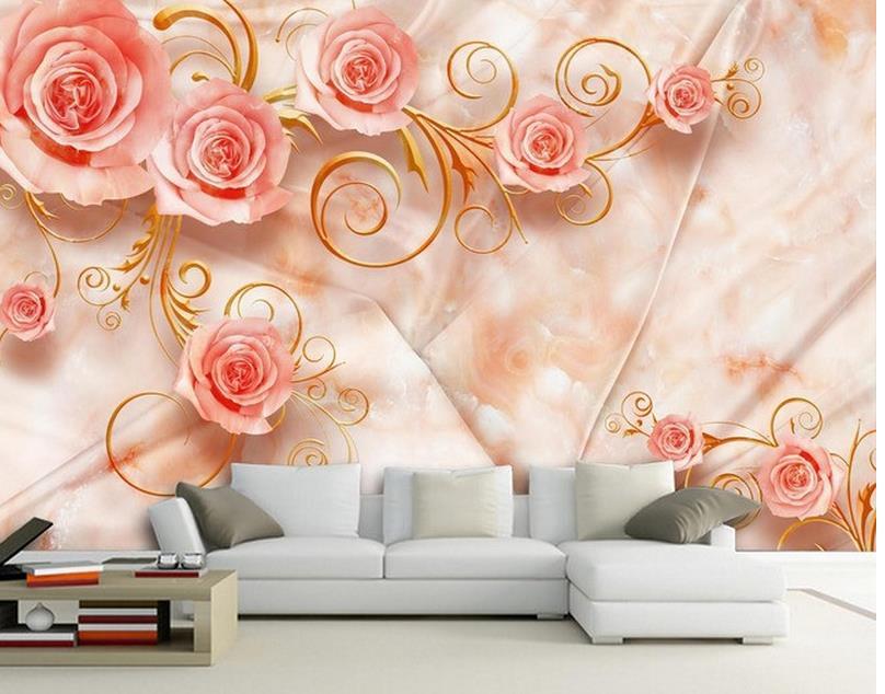 Decorazione Della Casa Di Seta Rose Rosa Marmo Tv Sfondo Pittura