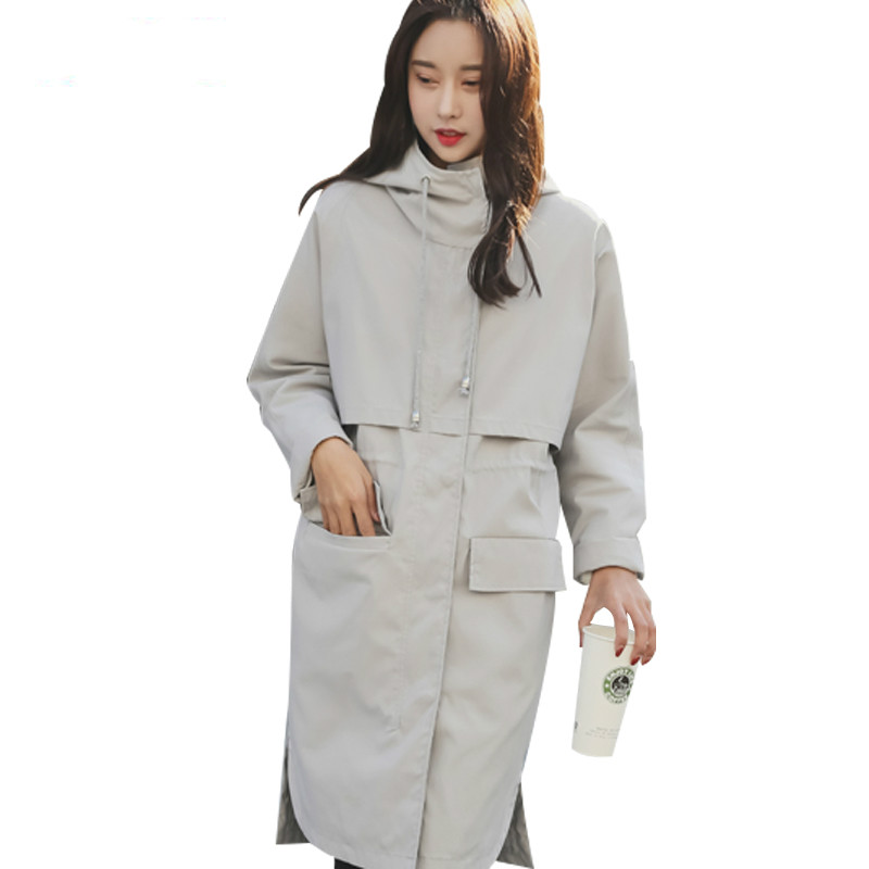 Trench   Coat Women Spring 2019 New Korean BF Large Size Women's Temperament England Hooded Red Black Long Windbreaker female