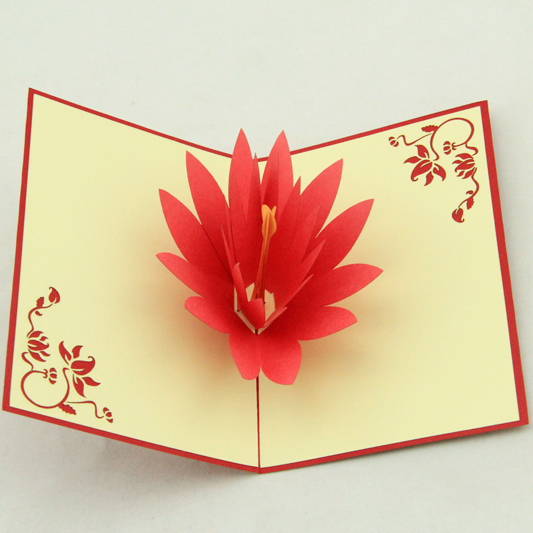 Lotus pop up card /3D  kirigami card/ handmade gift  Free shipping music card spiral pop up musical notes 3d card music instruments pop up card bday pop up card