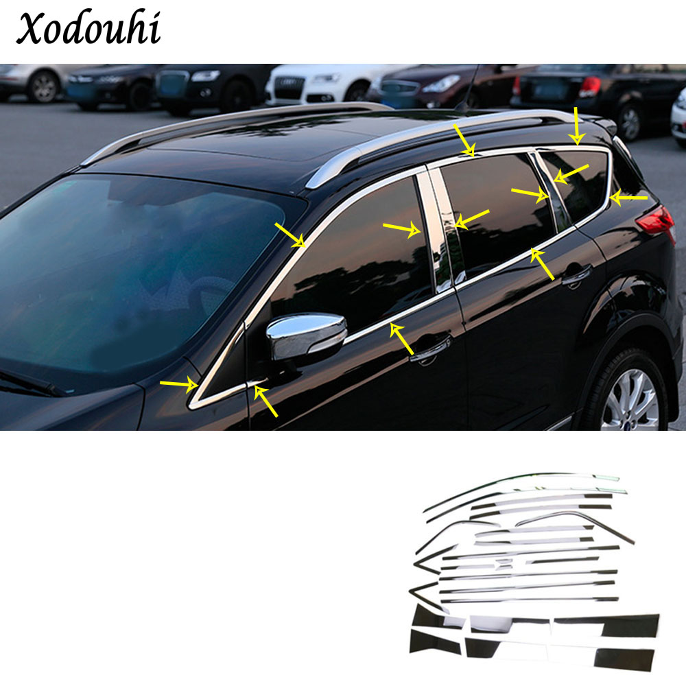 For Ford Kuga 2017 2018 2019 car cover styling body stick stainless steel glass window garnish pillar middle column strip trim for kia carens 2013 stainless steel window middle center pillar trim side door body molding streamer cover strip auto model