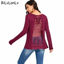 BiLvLanLv Women Fashion T-shirt Sexy Criss Cross Embroidered See Through Long Sleeve Tee Shirt 2018 Casual Womens Clothings