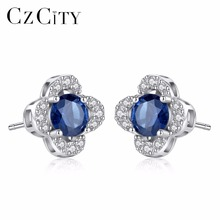 CZCITY Fashion Stud Earring Inlay Created Round Royal Sapphire Blue Topaz Women 925 Sterling Silver Earring Fine Vintage Jewelry