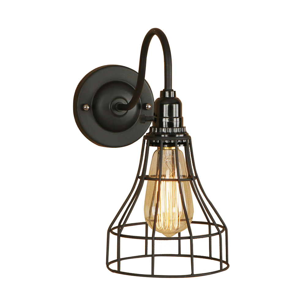 Retro iron black pastoral black wall lamp LED E27 industrial wall light for pathway aisle corridor parlor hotel bar restaurant
