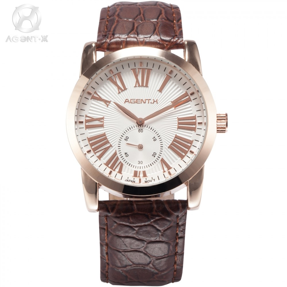 AGENTX Brand Watch Men Luxury Relogio Masculino Leather Hebillas Strap Clock Male Casual Wristwatch Men Business Watch / AGX093 agentx relogio agx026