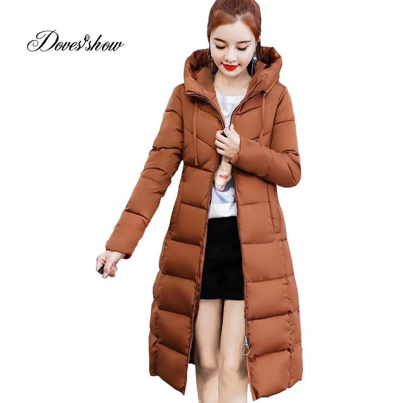 Hooded Winter   Down     Coat   Jacket Slim Long Warm Women Cotton-padded Casaco Feminino Abrigos Mujer Invierno Wadded Parkas Overcoat