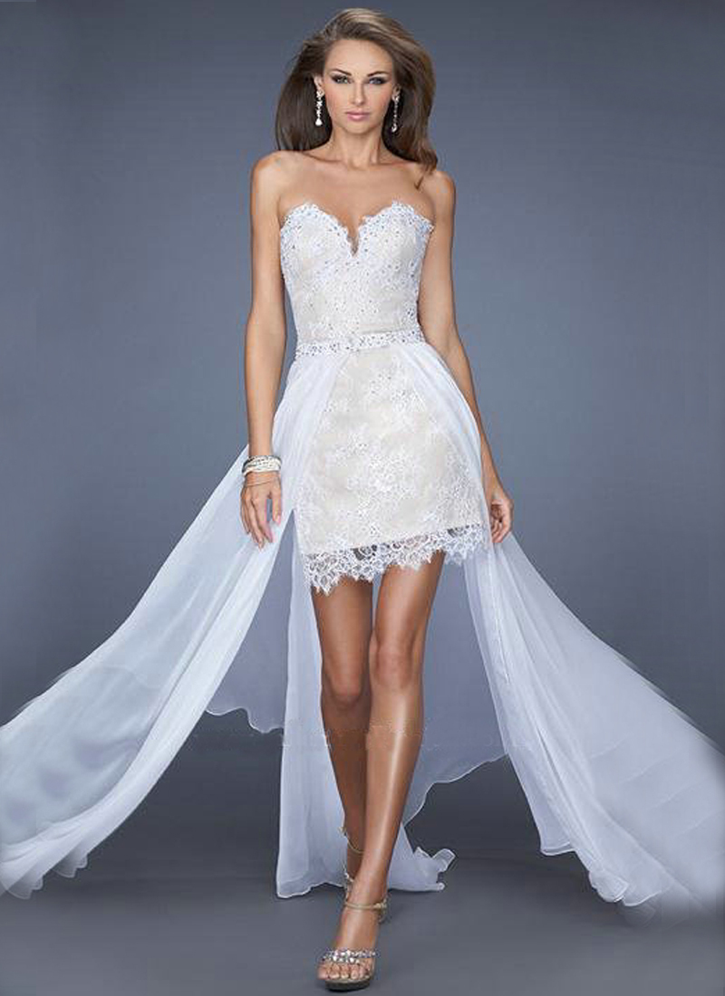 Sweetheart high low white prom dresses lace chiffon hi low for Formal dresses for weddings cheap