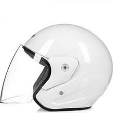 Motorcycle Open Face Helmet DOT Approved Motorbike Moped Street Bike Racing Crash Helmet with lens for Adult Men and Women White цена
