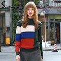 2017 Ucrania Mujeres Suéter de Rayas de Moda Panelled Patchwork Suéter de Punto Suéteres de Las Muchachas Ocasional floja Camisola de Color Verde Oscuro