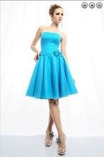 free shipping brides maid dresses formal 2014 new fashion plus size short sweetheart halter blue bridesmaid