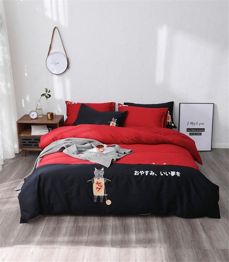 Комплект постельного белья в японском стиле Quen King Size, наволочки из египетского хлопка, пододеяльник, пододеяльник, милый чехол для кровати с