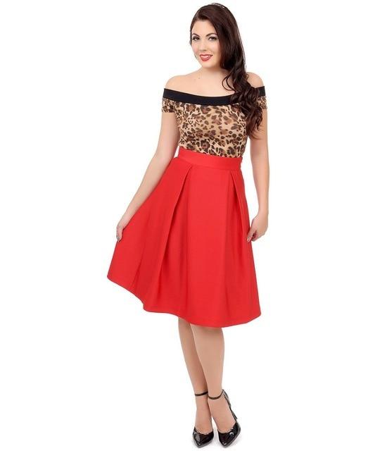 summer women vintage 50s Red High Waist Pleated Midi Skirt large plus size  casual saias femininas cotton puff skirts female e794b209236b