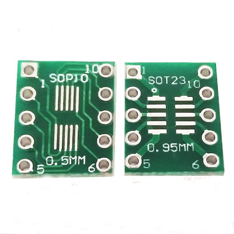 50pcs SOT23 SOP10 MSOP10 SOP23 to DIP10 Pinboard SMD to DIP Adapter Plate 0.5mm//0.95mm to 2.54mm DIP Pin PCB Board Convert