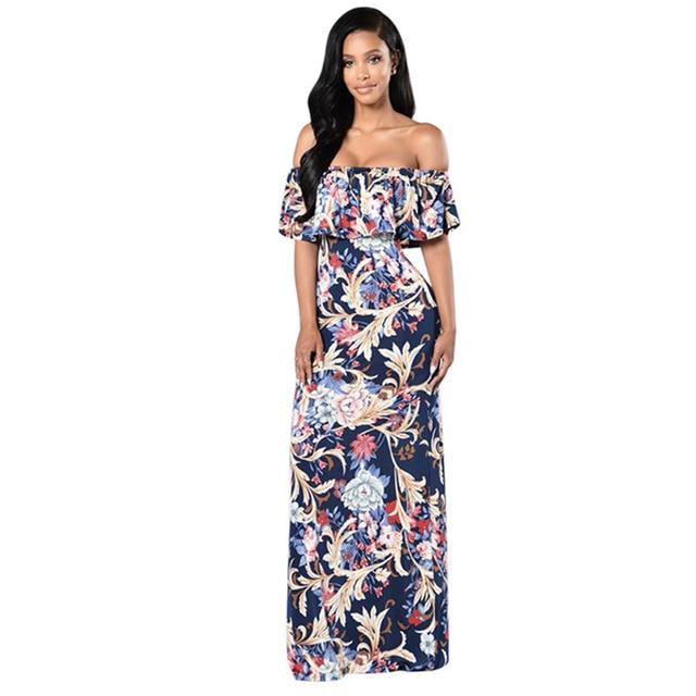 Women Summer Dress 2018 Boho Womens Clothing Empire Sexy Dres Slash Neck  Ruffles Pretty Woman Bohemian Beach Long Dress Chemise 3665314e97db