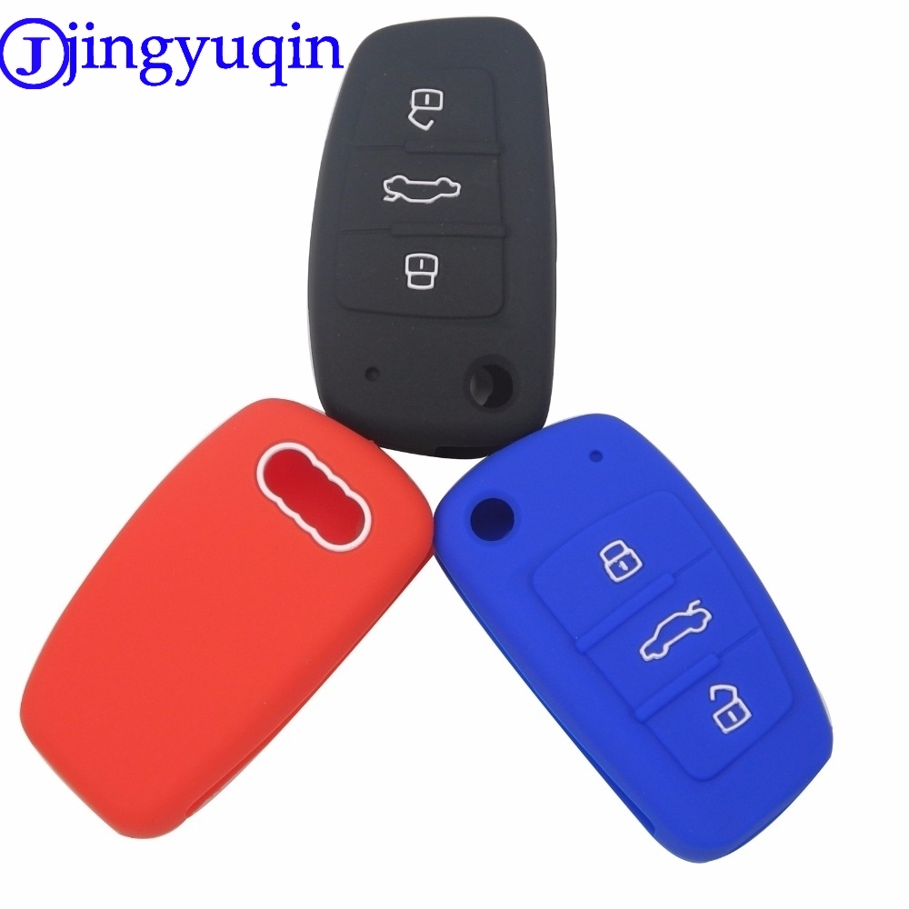 цена на jingyuqin 3 Buttons Car Silicone Key Cover Styling Case Cover Fob Shell For Audi A1 A3 Q3 Q7 R8 A6L TT Key Case Four Car Styling
