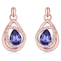 Purple Bridal Jewelry Water Drop Crystal Korean Fashion Earrings Stud Women Accessories Made With Swarovski Elements