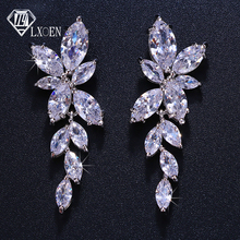 LXOEN Marquise Cut Flower Zirconia Crystal Long Drop Earrings for Women Shiny Le