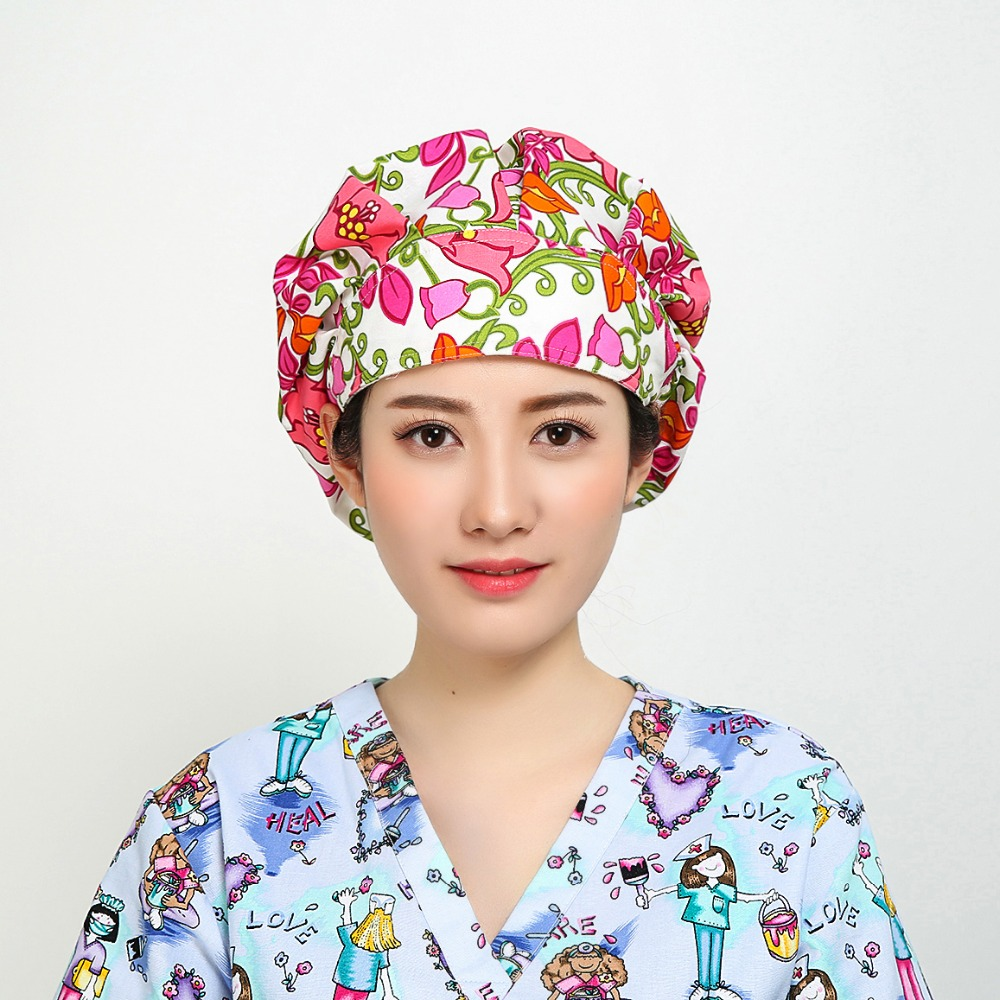 Unisex Hospital Printed Medical Caps 100% Cotton Surgical Caps Bouffant Doctor Nurse Lab Clinic Dental Scrub Cap Adjustable QH14
