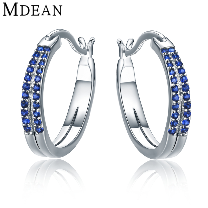 MDEAN 3 31Gram Genuine 925 Trendy Blue AAA Zircon Sterling Silver Jewelry Engagement Fashion Hoop Earrings