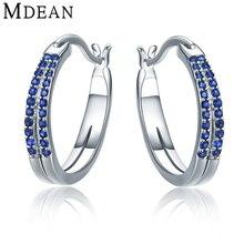 Mdean 3.31 г подлинная 925 модный синий aaa циркон стерлингов-серебро-ювелирные изделия обручальные мода хооп серьги для женщин mse344