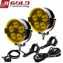 Goldrunway 50W 3.5′ Motorcycle Motorbike Headlight 6000LM U3 LED Driving auxiliary Spot Head Light Lamp  High/Mid/Low
