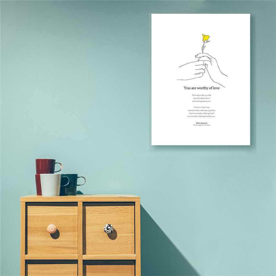 Image 5 - Желтый цветок минималистичный печать на руку плакаты Современная вдохновляющая жизнь цитаты холст картина для гостиной домашний Декор картина-in Рисование и каллиграфия from Дом и животные