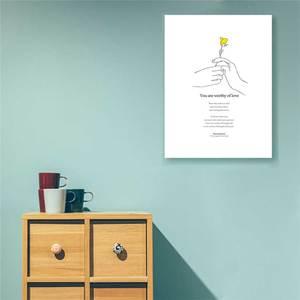 Image 5 - Gele Bloem Minimalistische Hand Prints Posters Moderne Inspirational Life Quotes Canvas Schilderij Voor Woonkamer Home Decor Foto