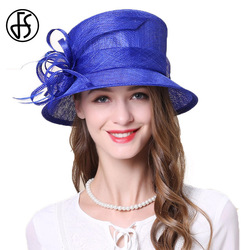 FS Royal Blue Khaki Lady Sinamay Hat Fascinators For Wedding Women Wide Brim Fedora Top Church Flower Kentucky Derby Hats