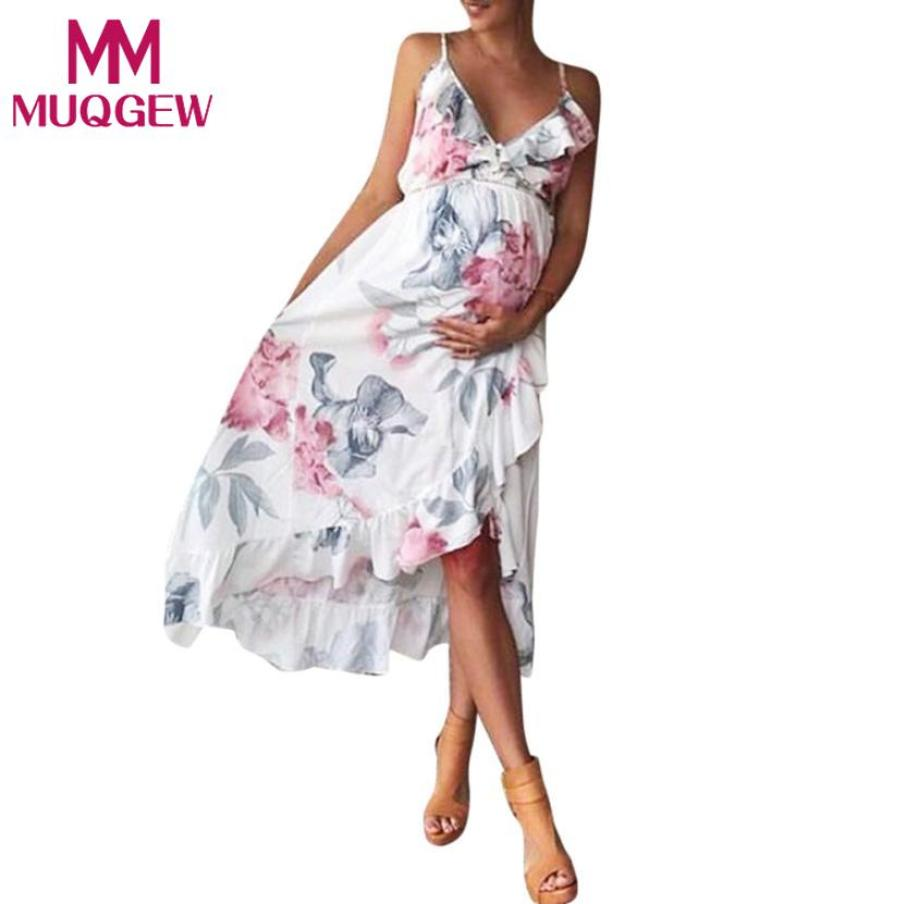 MUQGEW Summer women elegant dress Fashion Womens Mother Casual Floral Falbala Pregnant Dress For Maternity Clothes