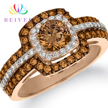 Beiver Fashion Champagne Zircon Rings for Women Rose Gold Color Wedding Jewelry 2019 New Arrivals new fashion multilayer double color women rings plated rose gold color zircon rings jewelry for women wedding accessories gifts