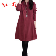 LG Fashion Women Blouses 2017 Autumn Long Sleeve Irregular Hem Cotton Shirts Casual Loose Blusas Tops Plus Size M-3XL