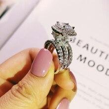 Trendy luksusowe duże 925 srebro pierścionek zaręczynowy dla kobiet i ladys świąteczne prezenty z poduszką ślub R4898 zirconia