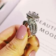 Trendy luxus große 925 sterling silber engagement Ring für Frauen und ladys weihnachten geschenke mit kissen zirkonia hochzeit R4898