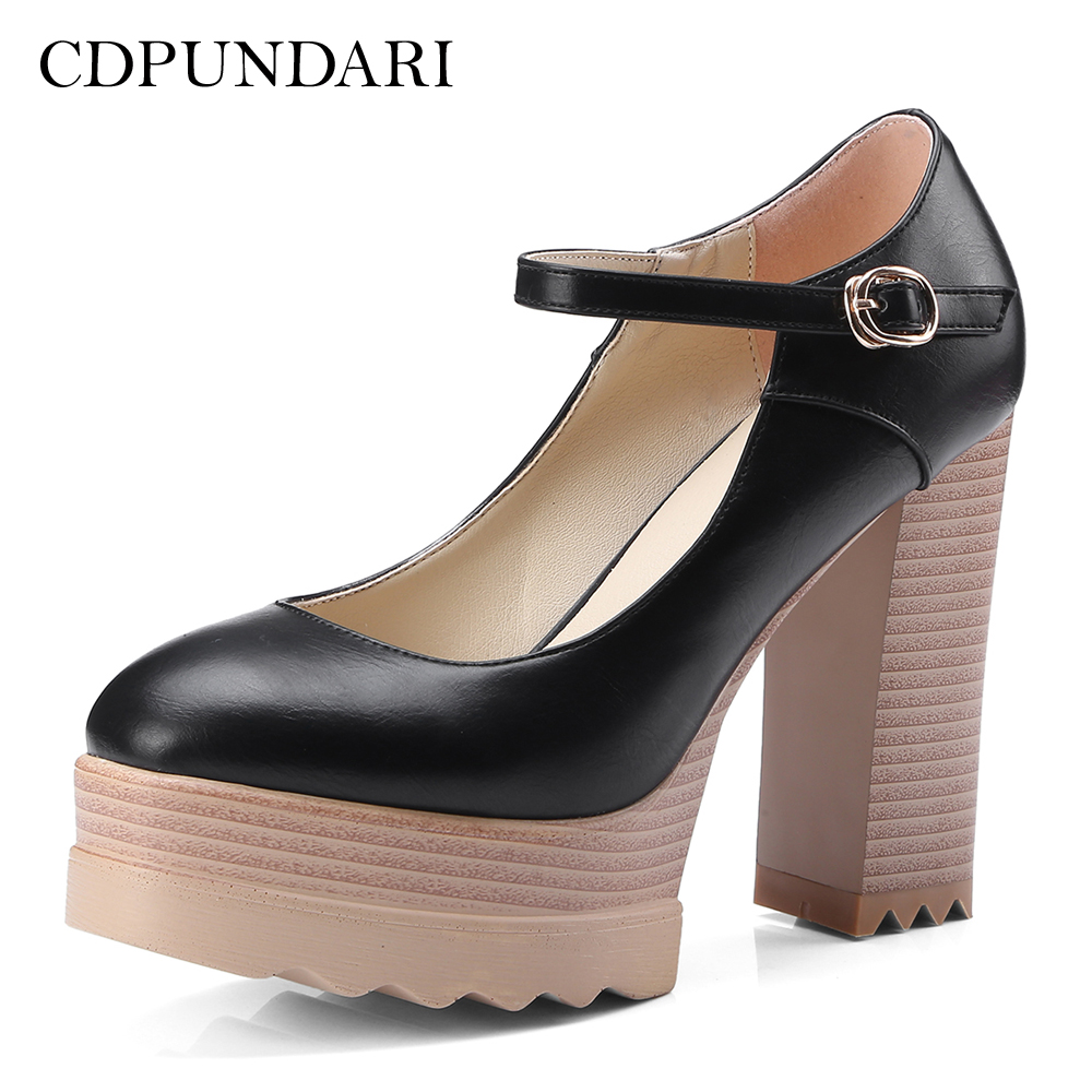 CDPUNDARI Ladies Mary Janes Shallow Platform high heels women Pumps