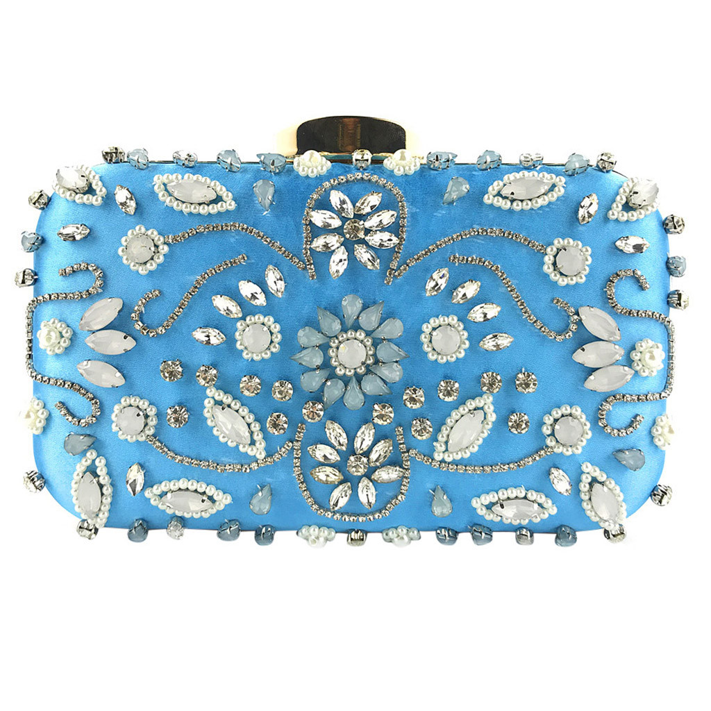 d3054dfeed9 Fashion Womens Bags Wallet Clutch Evening Bag Women Flower Crystal Beaded Clutch  Evening Chain Crossbody Bags