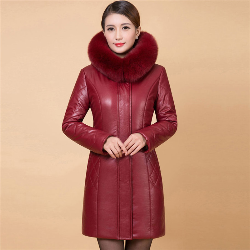 Winter Women Outerwear 2018 New Middle-Aged Female Cotton Jacket Large Size Thick Medium Long Fur Collar Ladies   Parkas   Cw042