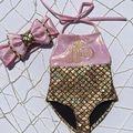 New Girls Kids Mermaid Fancy Bow Sequins Swimmable 2pcs Bikini Set Swimwear Swimsuit Bodysuit 0-3Y