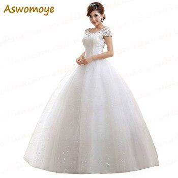 2017 New Fashion A-Line Wedding Dresses O-Neck Short Sleeve Beaded Sashes White Ball Gown Lace Up Bridal Dress Vestidos De Novia Wedding Dresses
